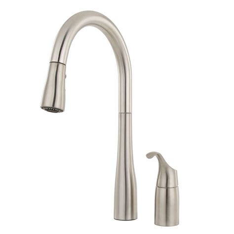 single handle kitchen faucet with sprayer american standard quince single handle pull down sprayer kitchen faucet in stainless steel 4433