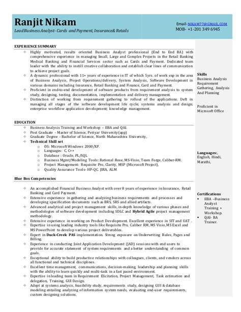 Ba Resume by Insurance Business Analyst Sle Resume Business Analyst Resume For Insurance Industry