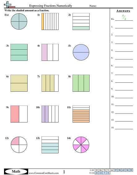 fraction worksheets free commoncoresheets