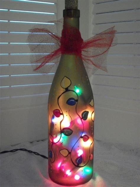 hand painted recycled wine bottle light