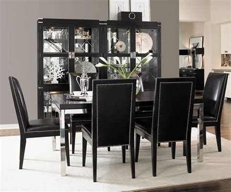 black and white dinner table setting simple dining room with black table and black chairs with