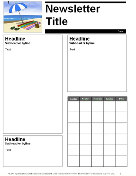 Free Newsletter Templates For Teachers by Free School Newsletter Templates For Teachers