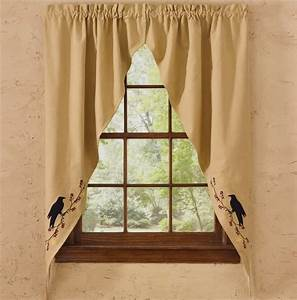 """Primitive Crow Lined Romantic Window Curtain Swag 72"""" x 63"""""""