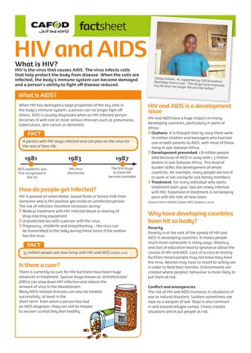 hiv and aids factsheet by cafod teaching resources
