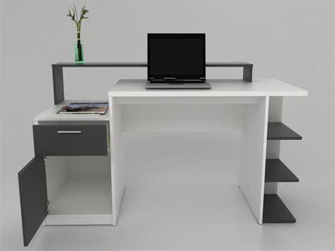 bureau blanc et bureau zacharie 1 tiroir 1 porte blanc gris