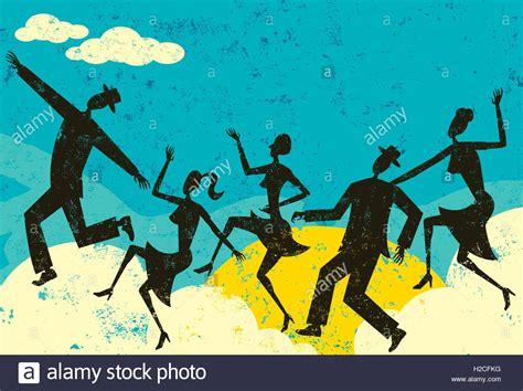 Wolke Tänzer Menschen Silhouette Tanz Auf Wolken über Abstrakte Bewölkt. Die Menschen Und