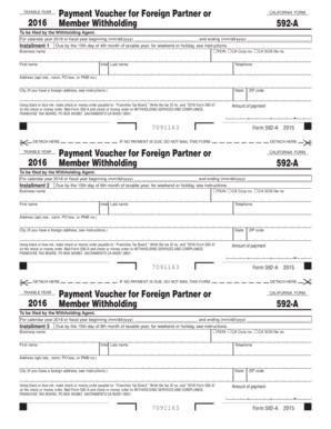 fillable online ftb ca 2016 form 592 a payment voucher