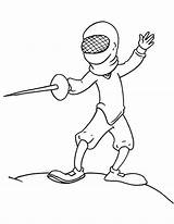 Coloring Fencing Fencer Pages Template Classical sketch template