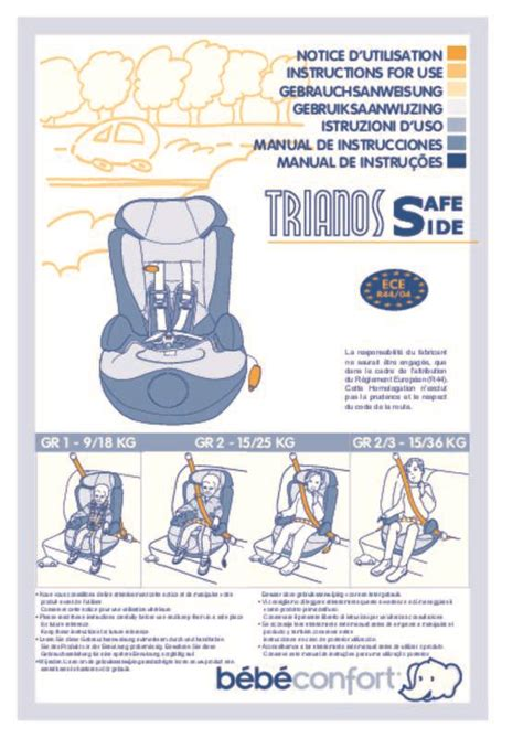siege bebe confort trianos mode d 39 emploi bebe confort trianos safe side siège auto