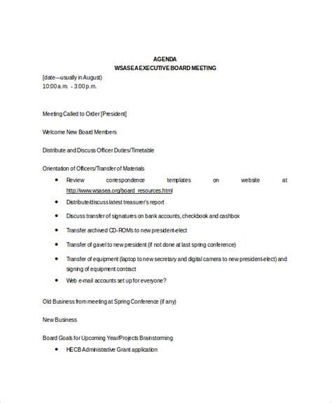 8+ Board Meeting Agenda Templates  Free Sample, Example