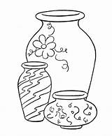 Coloring Vase Microscope Vases Sketch Simple Template Printable Drawing Object Flower Objects Clipart Pretty sketch template
