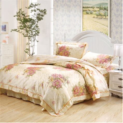 yellow floral pretty romantic queen bed comforter sets