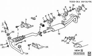Chevrolet Blazer Nut  Catalytic Converter  Exhaust Muffler  Resonator  Exhaust Pipe  Fuel