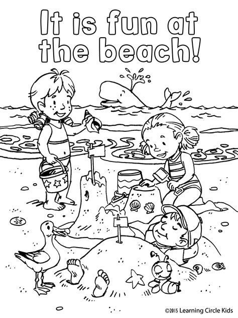 free coloring page children s summer fun at the beach with reader bee and friends reader bee