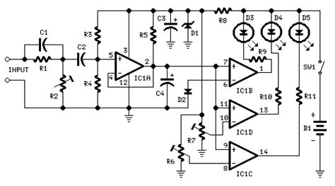 Led Audio Power Indicator Under Meter Circuits