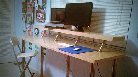 diy standing desk ikea build a diy wide adjustable height ikea standing desk on