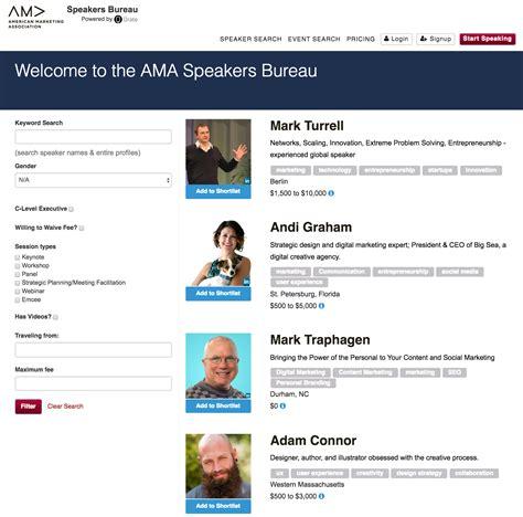 bureau association marketing association establishes speakers bureau