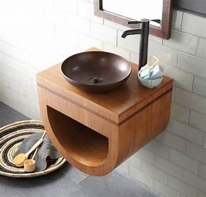 meuble salle de bain bambou et accessoires en 50 idees With robinet salle de bain pour vasque a poser