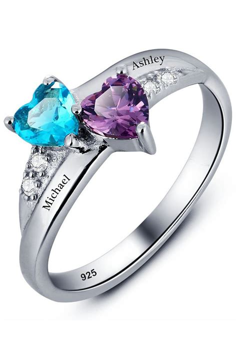 promise ring   couples  heart birthstones  names