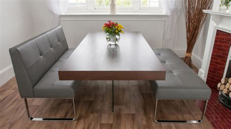 Modern Gray Vinyl Dining Banquette With Chromed Metal Base