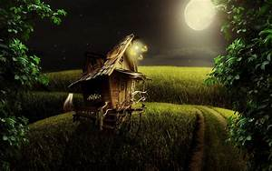 Little wood house in the moonlight wallpaper #19593
