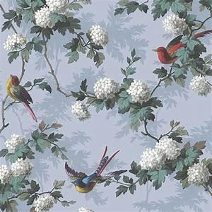 Papier Peint Japonisant : papier peint bird print fond bleu lavande oiseaux et fleurs ~ Premium-room.com Idées de Décoration