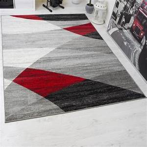 tapis salon rouge et gris achat vente tapis salon With tapis salon gris design
