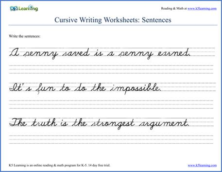 writing cursive sentences worksheets   printable