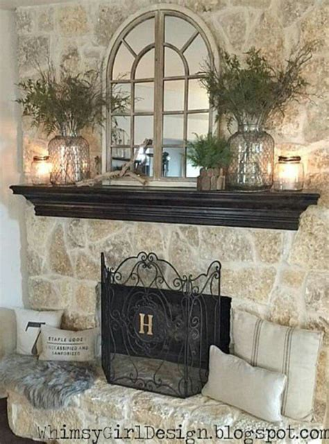 home nature inspired spring mantle fireplace