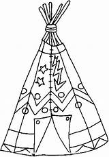 Indian Coloring Tepee sketch template