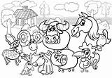 Farm Coloring Animals Cartoon Illustration Vector Premium Scene Depositphotos Livestock Rural Characters Country Izakowski sketch template
