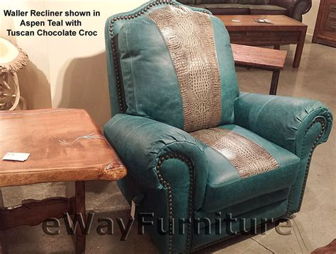 teal and tuscan chocolate croc top grain leather recliner