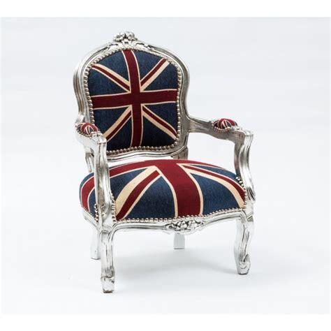 poltrona bandiera inglese poltrona bimbo barocco in legno color argento con bandiera