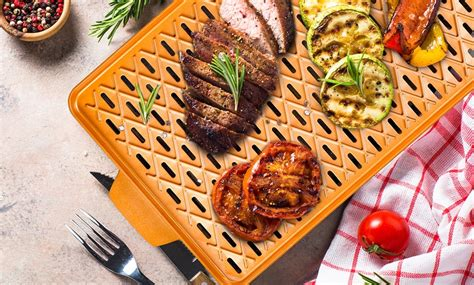 closeout copper chef grill pan  cleaning brush  recipe book groupon