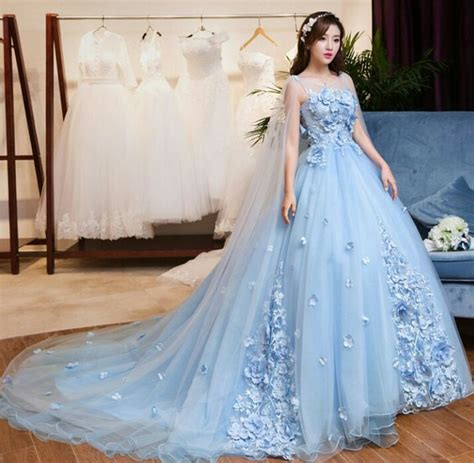 jual wedding dress lace blue bertali gaun pengantin