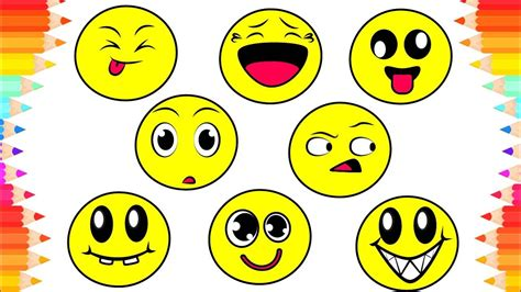 How To Draw Funny Emoji For Kids😃diy Coloring Pages For