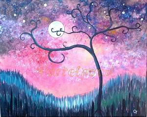 Modern art Curly tree with moon and stars 16x20 large