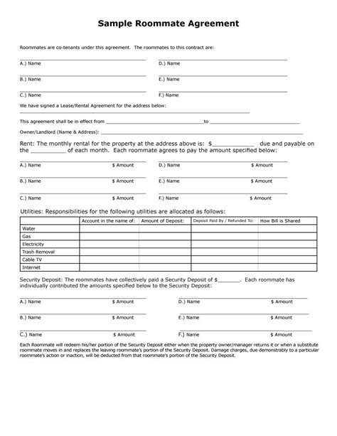 40 in word form 40 free roommate agreement templates forms word pdf