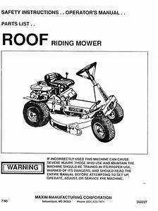 Roof Riding Mower Manuals