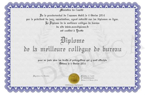 collegue de bureau diplome de la meilleure collegue de bureau