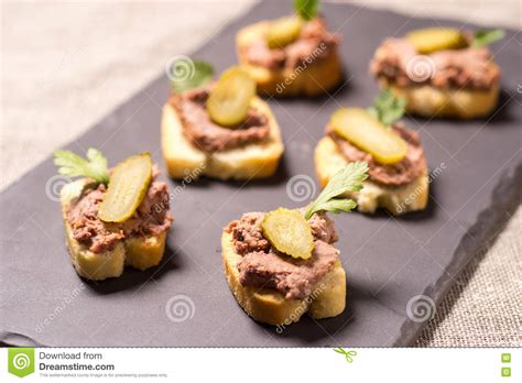 pate canapes appetizer with pate stock photo image 74853992
