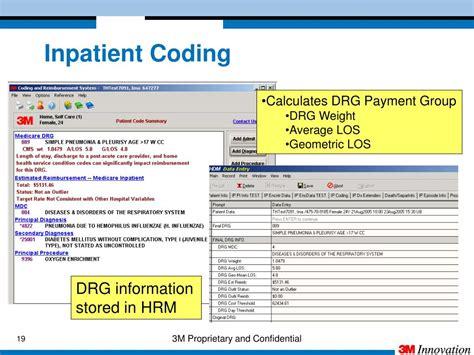 coding monitoring inpatient drg 3m los geometric compliance editor data quality grouper ppt powerpoint presentation confidential proprietary average weight