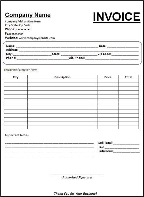 blank invoice template printable calendar templates