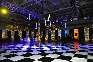 Black & White Dance Floor with hanging Chess pieces Rick