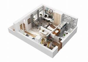amenagement et decoration d39un appartement de 40m2 With plan d appartement 3d 0 eyredeco decoration dinterieur