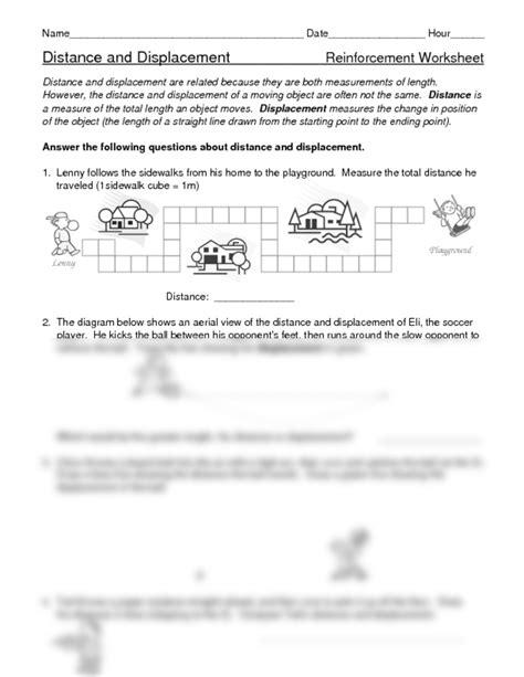 distance displacement worksheets