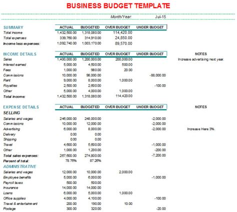 business budget template excel 30 business budget templates free word excel pdf