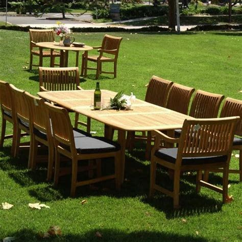 11pc grade a teak outdoor dining set with cushions