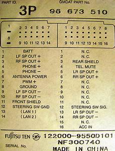 Chevrolet 3p 96 673 510 Head Unit Pinout Diagram   Pinoutguide Com