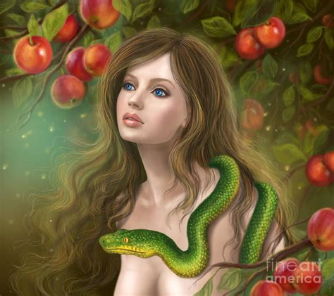 apple temptation beautiful woman eve  snake young
